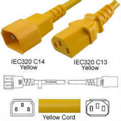 Yellow Power Cord C14 Male to C13 Female 0.6 Meter 10 Amp 250 Volt H05VV-F 3x0.75
