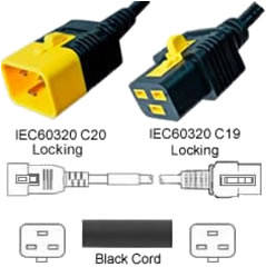 V-Lock C20 Male to V-Lock C19 Female 1.2 Meter 16 Amp 250 Volt Hybrid Black Power Cord