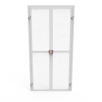 Double door for enclosures - filling a black steel net without protection