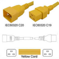 Yellow Power Cord C20 Male to C19 Female 1.5 Meters 16 Amp 250 Volt H05VV-F 3x1.5
