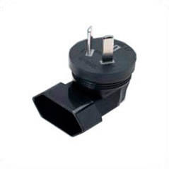 Australian AS 3112 Male Plug to Europe CEE 7/16 Female Connector 2.5 Amp 250 Volt Block Adapter - Black, Angled Down