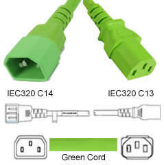 Green Power Cord C14 Male to C13 Female 1.1 Meter 10 Amp 250 Volt H05VV-F 3x0.75